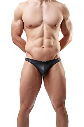 Sexy Lingerie G-string&thongs Underwear Faux Leather Jockstrap Briefs# C36 (S, black