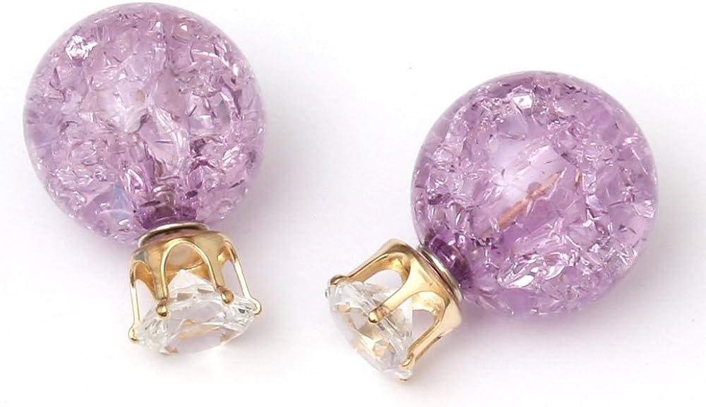 Pendientes de doble cara Idin - ca morado acrílico perlas con crepitar-efecto diamante de imitación (. 6 x 8 mm y 15 mm)