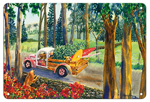 Pacifica Island Art 8in x 12in Vintage Tin Sign - Upcountry Cargo - Hawaiian Truck with Surfboards, Dogs, Christmas Tree by Peggy Chun