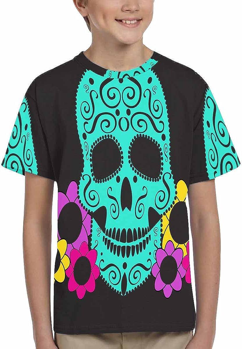 INTERESTPRINT Childs T-Shirt Skull with Flowers XS-XL