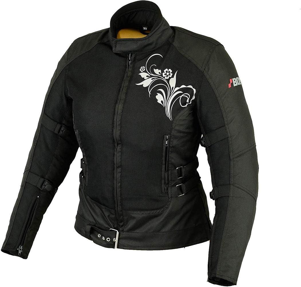 BOSMOTO Bikerkombi Zweiteiler F/ür Damen Motorradkombi Schwarz XS