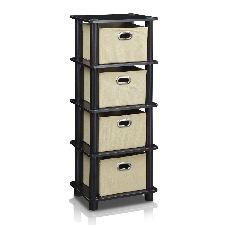 Furinno LACi 4-Bins System Rack, 11.3(W) x 28.8(H) Inch, Espresso/Black 99150EX/BK/LB