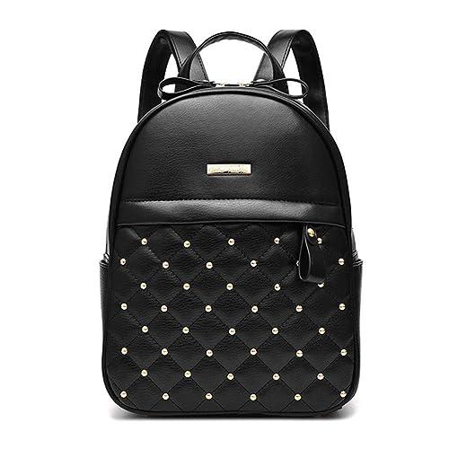 VHVCX Las mochilas de cuero de las mujeres Mochila remache de la manera causales Bolsas de hombro del grano Mujer bolso de la PU para niñas Mochila, ...