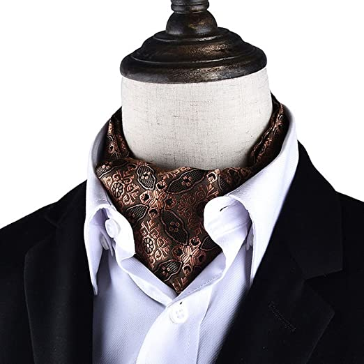 1903b5c96bec AngelShop Men's Cravat Self Tie Paisley Jacquard Weave Formal Tie Scarf  Luxurious Ascot (Coffee)