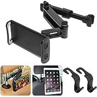 AFUNTA Soporte de teléfono Universal con Respaldo para el Asiento del automóvil Soporte Giratorio de 360 ° Ajustable para Todos los teléfonos Inteligentes iPad con Tableta de 4 a 10 Pulgadas - Negro