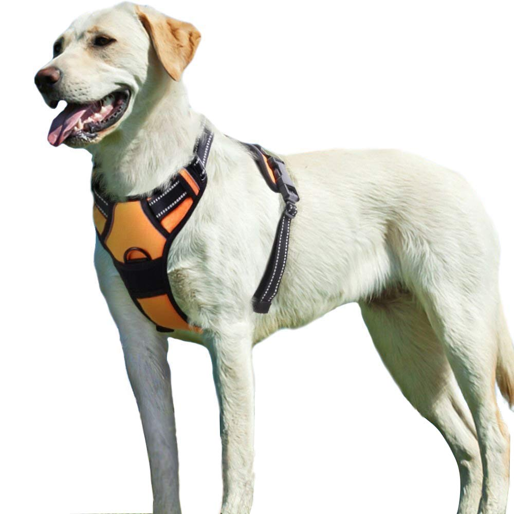 (Large, orange) Dog Harness no Pull Padded Easy Fit Puppy Chest Harness Car With Handle Front Clip Adjustable Reflective Breathable Soft Mesh Lightweight Outdoor Training Walking Comfort Control for Large Dogs orange