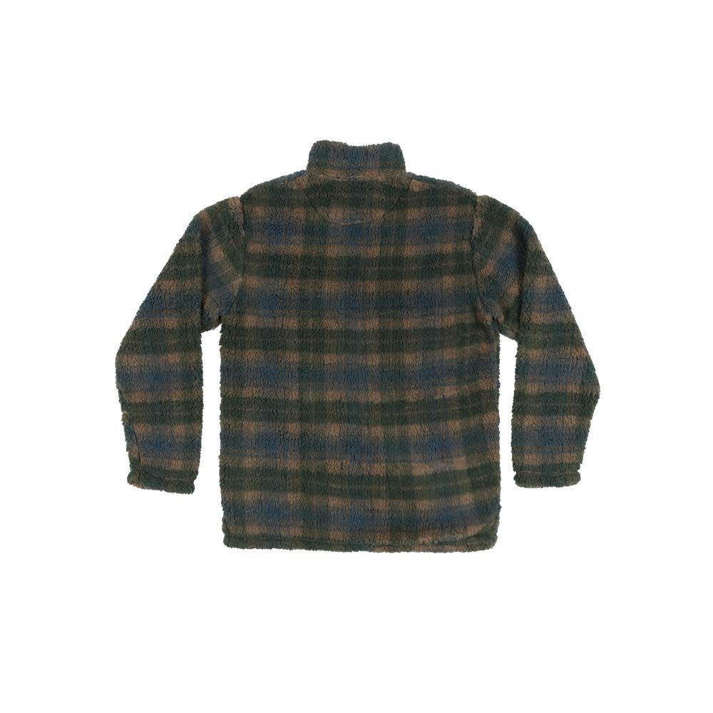 Southern Marsh Youth Andover Plaid Sherpa Pullover in Navy and Dark Green