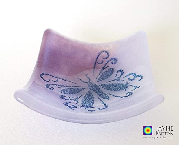 Butterfly Bowl Fused Glass Violet Purple Blended Glass Symbol Of