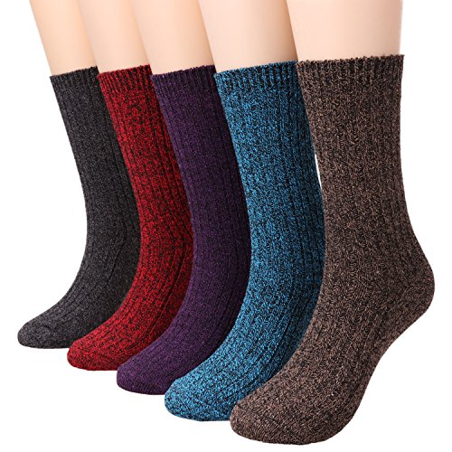 Ladies 5 Pack Fashion Warm Ribbed Knit Winter Boot Crew Socks Size 5-10 W82