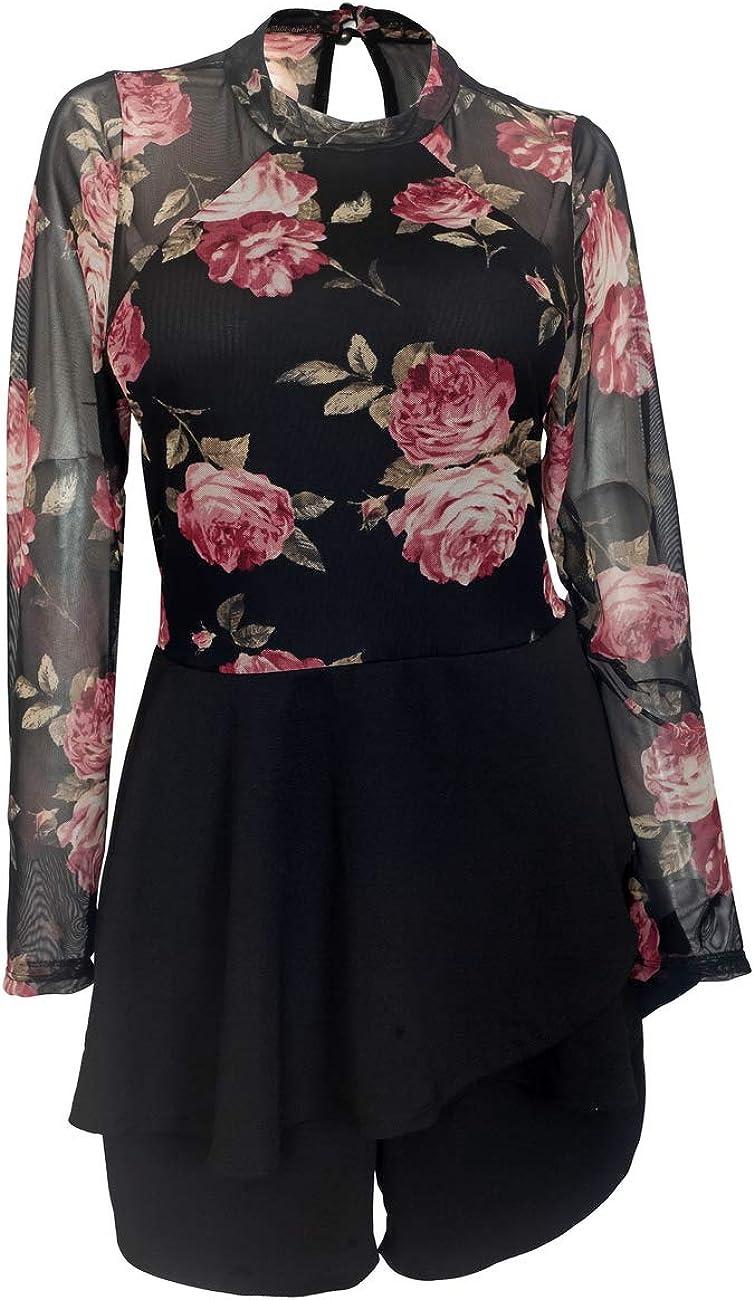 Plus size Lace Overlay Romper Dress Floral Print 1915