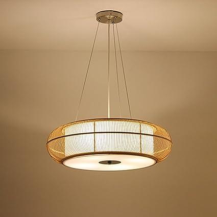 DIDIDD Lámpara de araña de techo de bambú Lámpara de estilo ...