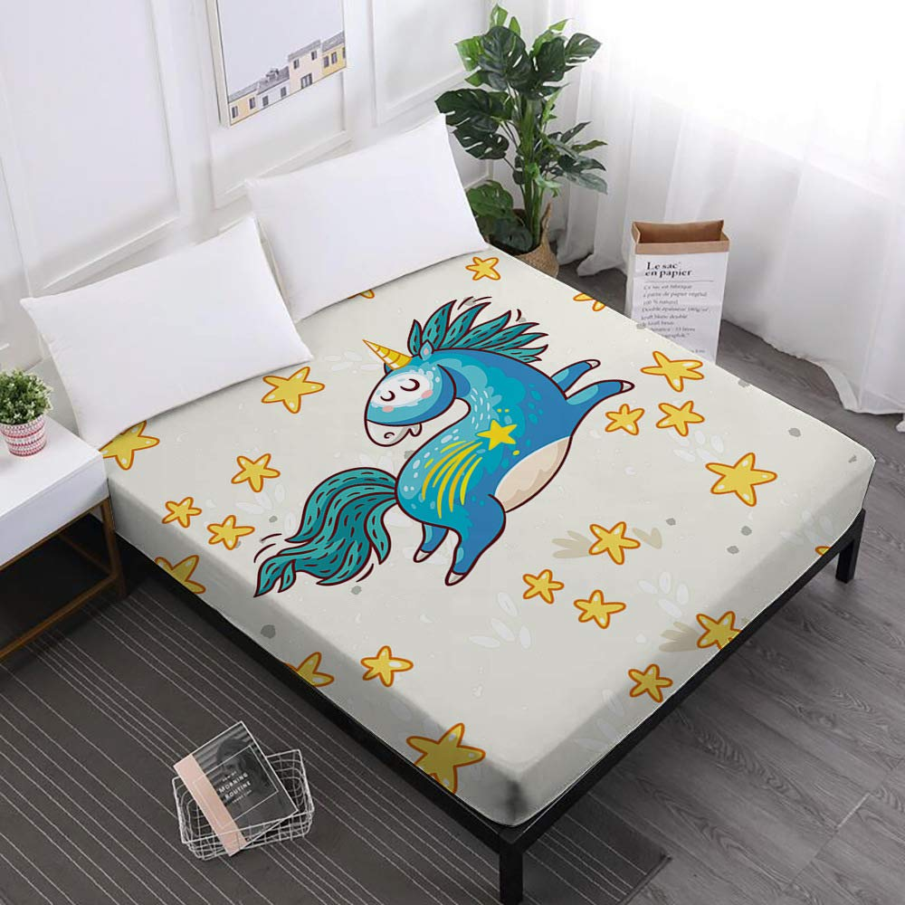 Jessy Home Unicorn Bedroom Decor for Girls,Cartoon Fitted Sheet Twin,3D Bedding