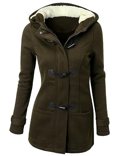 Donna Giacca Cappotto con Cappuccio Giacche Abbottonato Parka Outwear   Amazon.it  Abbigliamento 9b57847bd12