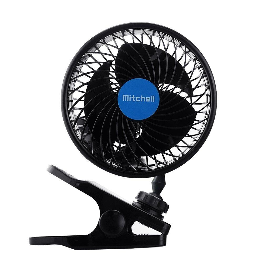 ventilateur auto, Intsun 12V 6 pouces voiture Clip Fan Automobile Vé hicule de refroidissement Fan de voitures puissantes Calme Ventilateurs Speedless Ventilation voiture é lectrique avec prise allume-cigare clip pour l'é té