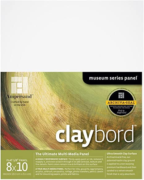 CBSWC244 24X24 Inch 2 Inch Depth Cradled Ampersand Museum Series Claybord Panels for Paint and Ink