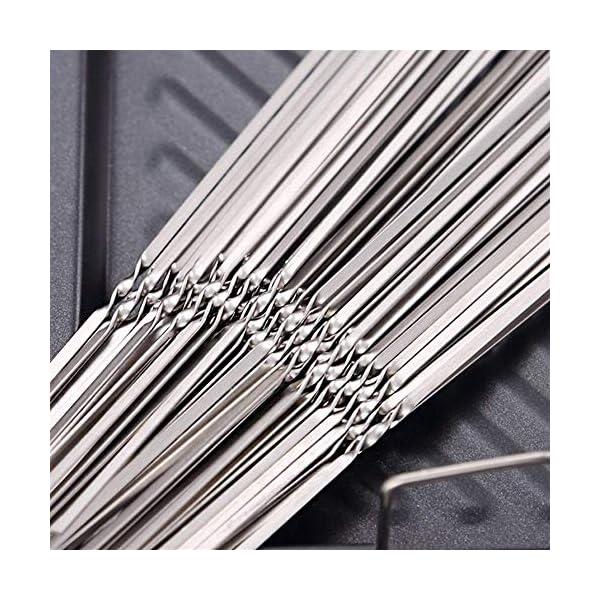 JNT- 15pcs riutilizzabili spiedini di barbecue in acciaio inox piatto barbecue bastone ago for esterni attrezzi da… 3 spesavip