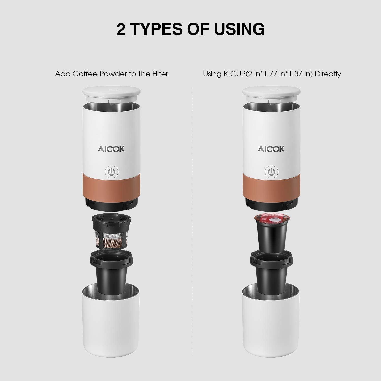 Amazon.com: Cafetera portátil de una sola porción, 2 en 1 ...