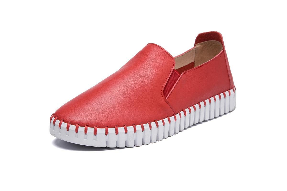NVXIE Mujeres Señoras Pisos Nuevos Únicos Zapatos Perezoso De Ocio De Moda Salvaje De Bajo Tacón De Cabeza Redonda De Piel Genuina De Pieles Antideslizantes Bombas Otoño Primavera De Trabajo , EUR 37/ UK 4.5-5 RED-EUR37UK455
