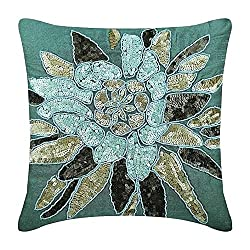 Sequins Embellished Blue Designer Pillow Covers