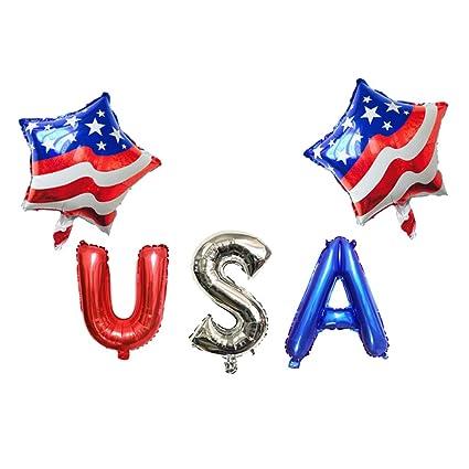 Homyl Globo Banderas Banderin Estilo USA Papel Fiesta 4 Julio Decoraciónes de Independencia