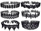 Zivyes 6pcs Black Lace Floral Choker Punk Gothic Tattoo Necklace for 90s Women Girls (6pcs Set)