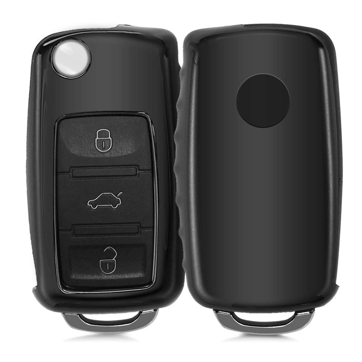 Suave para Llaves Carcasa Cover de Mando y Control de Auto en Plata Mate TPU kwmobile Funda para Llave de 2-3 Botones para Coche VW Skoda Seat de