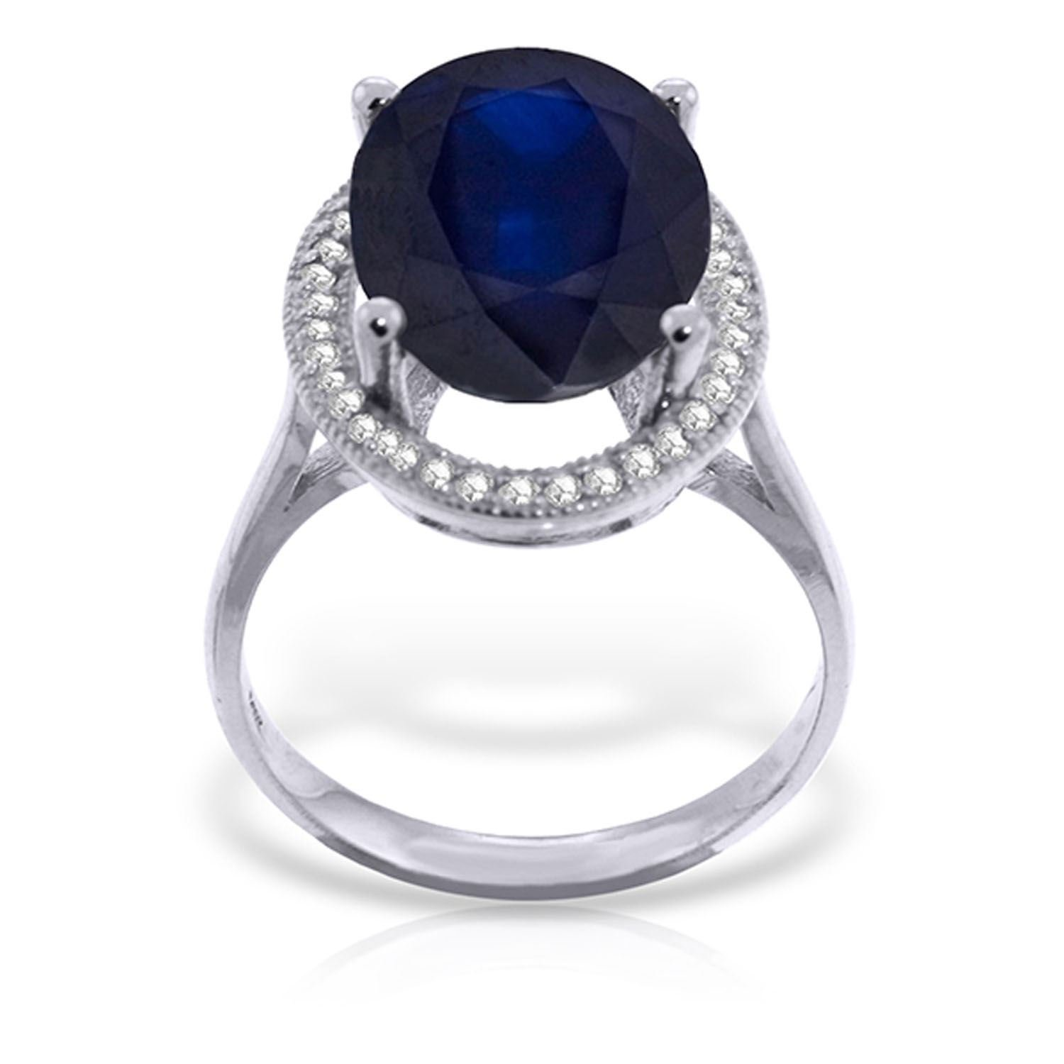 ALARRI 6.58 Carat 14K Solid White Gold Love Is Generous Sapphire Diamond Ring With Ring Size 6 by ALARRI (Image #1)