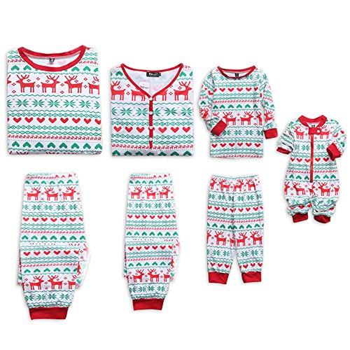 PopReal Reindeer Print Family Matching Clothes Long Sleeve and Pants Christmas Pajamas Set White]()