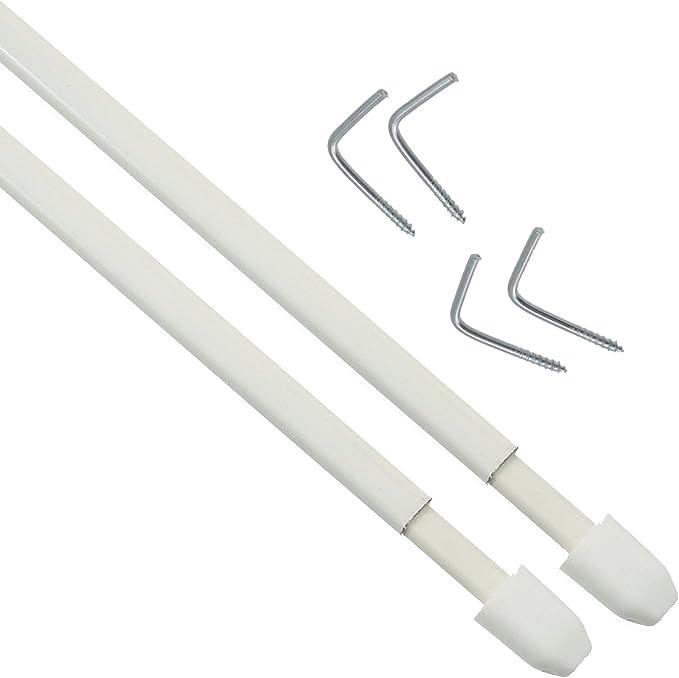 Imagen debbline SRL 10Varillas blancos Planas extensibles para cortinas con Cristal