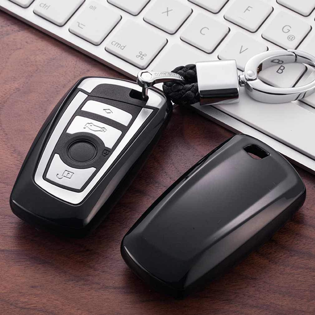 Pink Premium Soft TPU Car Key Case Shell Cover with Key Chain for BMW 1 3 4 5 6 7 Series BMW X3 X4 X5 X6 M3 M4 M5 M6 Remote Smart 3 4 Buttons