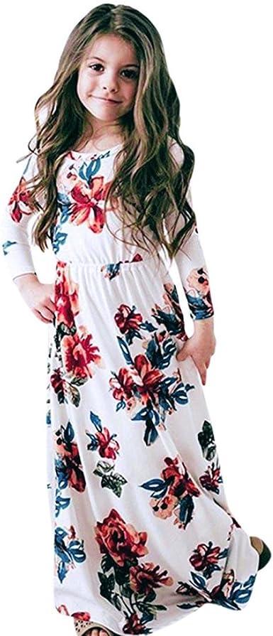 OHQ_Vestido NiñAs Vestido Estampado Flores Manga Larga Trajes ...