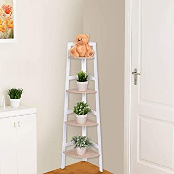 Phenomenal Costway 4 Tier Corner Rack Free Standing Wooden Display Ladder Shelf Unit For Storage Book Plant Flower For Home Office Use White 1 Download Free Architecture Designs Itiscsunscenecom