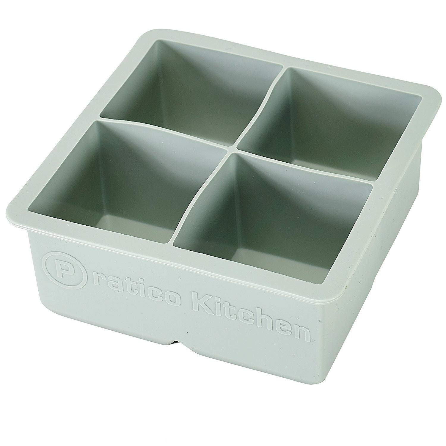 Large Ice Cube Mold - Makes 4 Jumbo 2.25 Inch Big Ice Cubes - Prevent Diluting Your Scotch, Whiskey, Cocktails - Keep Drinks Chilled with PratiCube Large Ice Cube Trays - 1 Pack Pratico Kitchen COMINHKPR92749