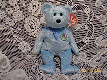 Amazon.com  TY Beanie Baby - DECADE the Bear (Light Blue Version ... a41b57b1f2c7