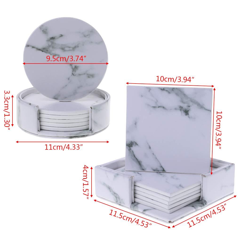 quadratisch Marmor Getr/änke-Untersetzer K/üchengeschirr 1# Becherhalter 6 St/ück//Set LyGuy Tee-Untersetzer Leder rund Platzdeckchen