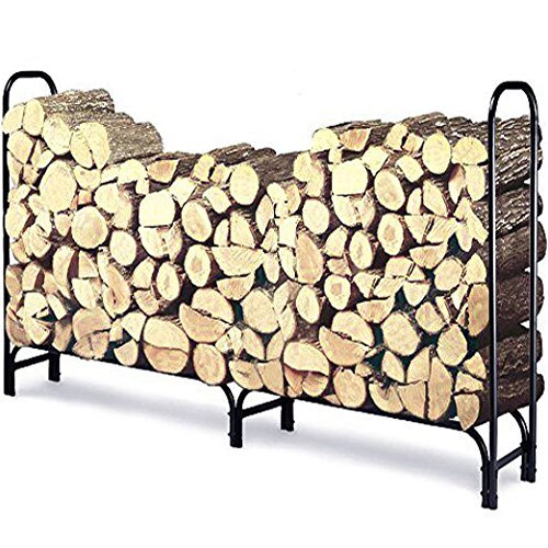 Decorative Black Scroll Stand (8 ft Outdoor Fire Wood Log Rack for Fireplace Heavy Duty Firewood Pile Storage Racks for Patio Deck Metal Log Holder Stand Tubular Steel Wood Stacker Outside Fire place Tools Accessories Black)