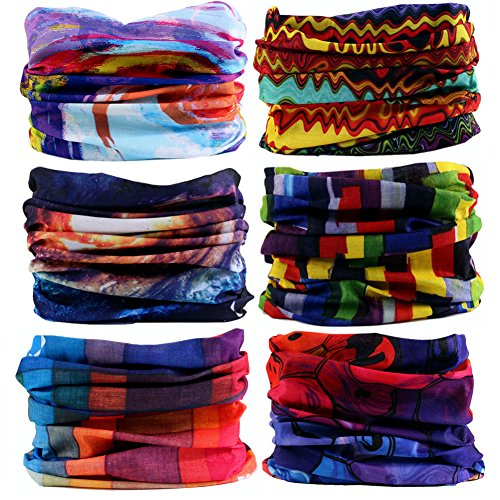 16-in-1 12PCS/8PCS/6PCS Multifunctional Headwear yoga Sports Stretchable Casual Headband Seamless Uv Solid Moisture Neckwarmer Headwrap Mask Bandana Scarf (6PCS-DHS A)