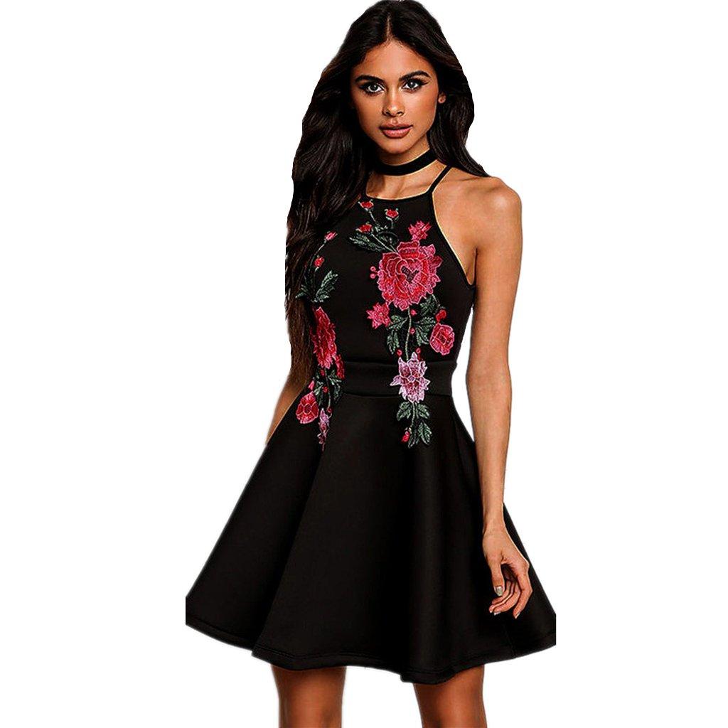 vestidos de fiesta cortos Switchali moda vestidos verano mujer floral Sin mangas Mini vestido de novia vintage casual de las mujeres de senora elegantes ...