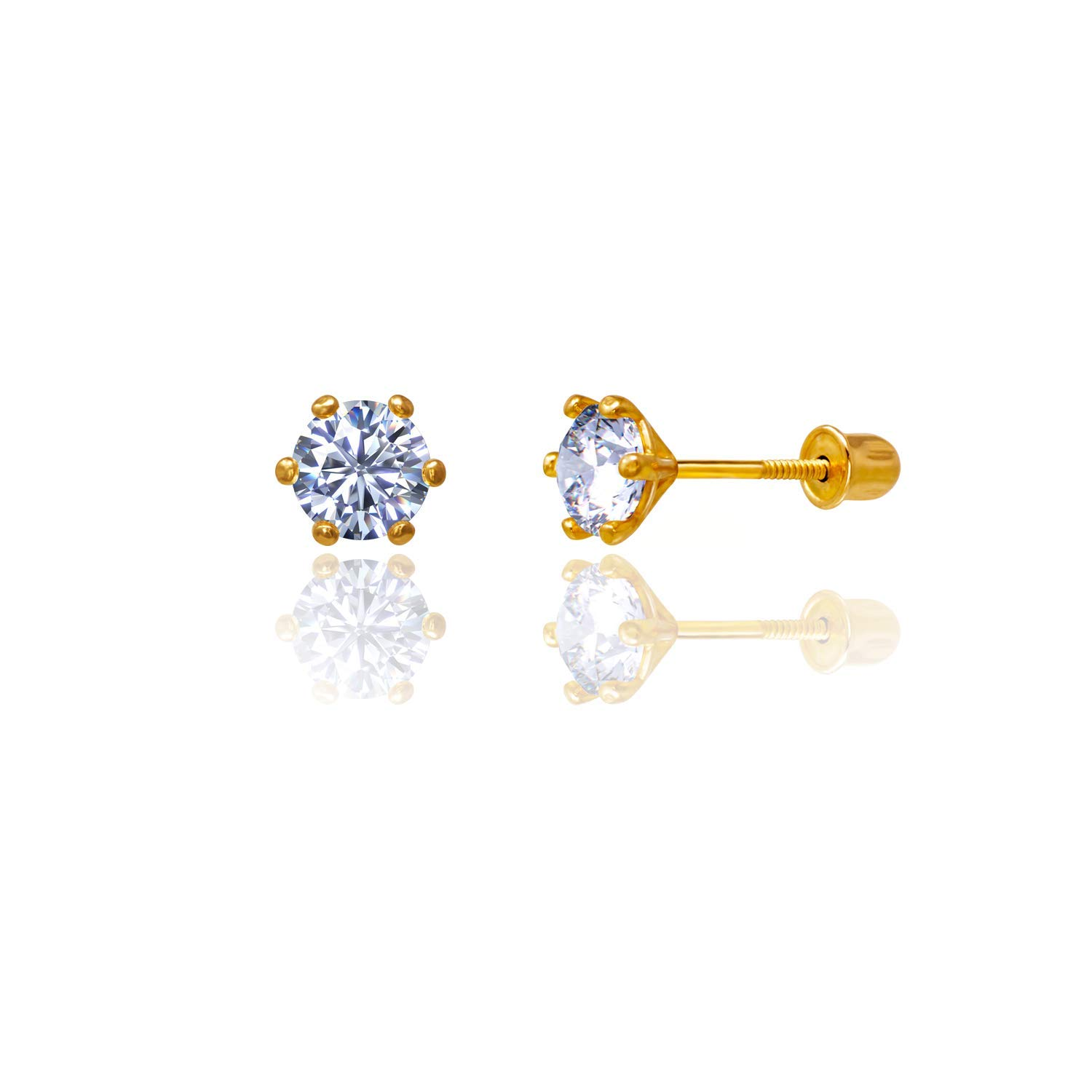 14kt Solid Gold Kids Stud Screwback Earrings Clear