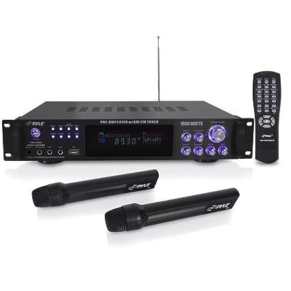 Pyle 4 Channel Home Audio Power Amplifier - 1000 Watt Stereo Receiver  w/Speaker Selector, AM FM Radio, USB, Headphone, 2 Wireless Mics for  Karaoke,