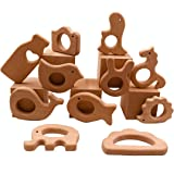 Coskiss Nature Wood Teething Toys 11pc Bird Elephant Wooden Teether Montessori Toys Wood Teether Rings Organic Infant Teether Handmade Pendant Set Shower Gift