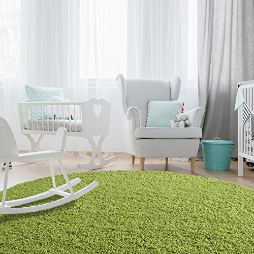 iCustomRug Affordable Shaggy Rug Dixie Cozy & Soft Kids Shag Area Rug Solid Color Lime Green, For Children's Play Area, Bedroom or Nursery Carpet (6' Diameter) Round (Round Green Solid Rug)