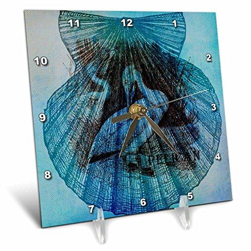 3dRose dc_79356_1 Aqua Pelican in a Seashell Beach Theme Art Desk Clock, 6 by 6-Inch