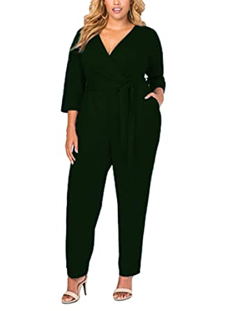 Amazoncom Hotom Store Women Plus Size Jumpsuits Long Sleeve Deep V