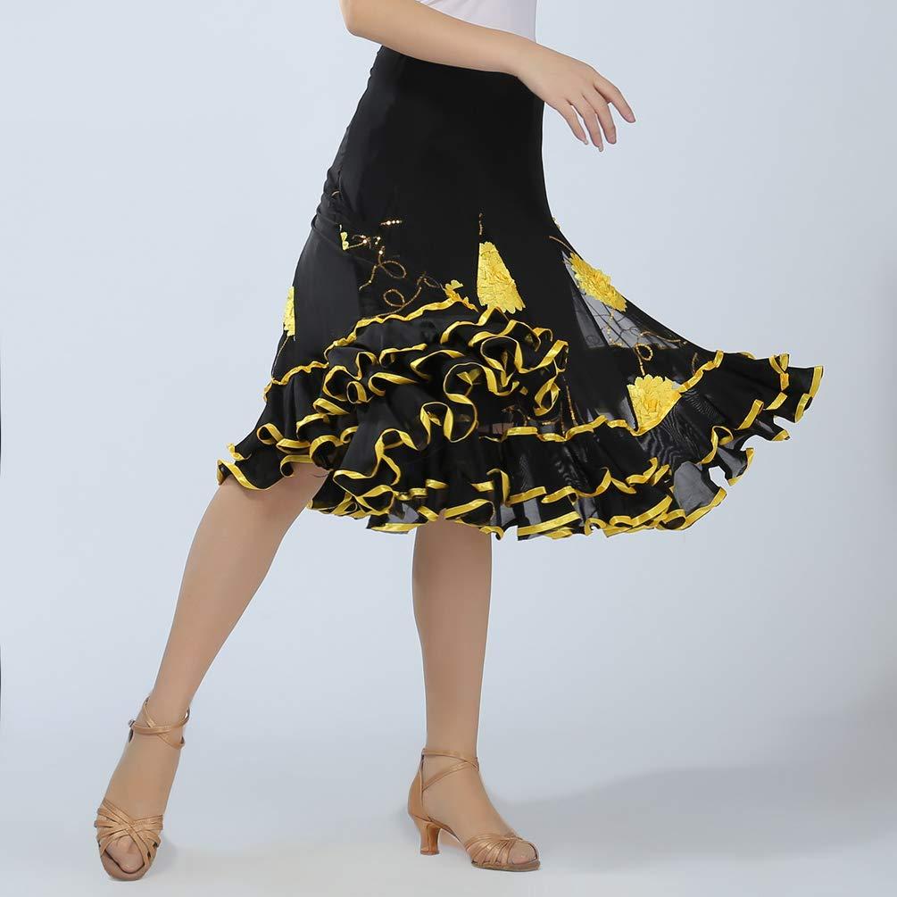 Tookang Falda de Danza para Mujer Falda de Columpio Bordada Traje de Baile Flamenco Sevillanas Tango Skirts Falda Plisada Falda de la Rodilla