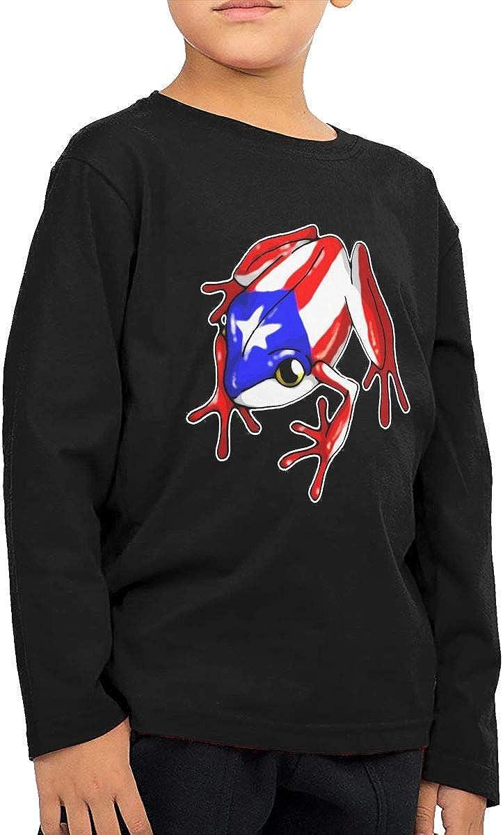 Baby Boys Kids Puerto Rico Flag Frog ComfortSoft Long Sleeve Shirt