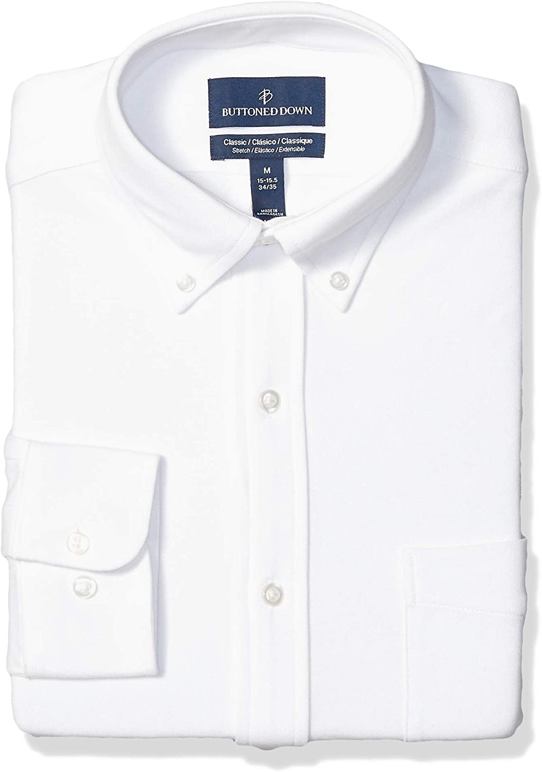 Amazon Brand - BUTTONED DOWN Men's Classic Fit Stretch Knit Dress Shirt, Supima Cotton, Button-Collar