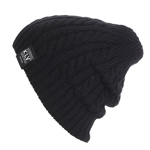 148e122dded KLV Womens Mens Unisex Slouch Beanie Outdoor Ski Skull Cap Warm Knitted Hat (Black)