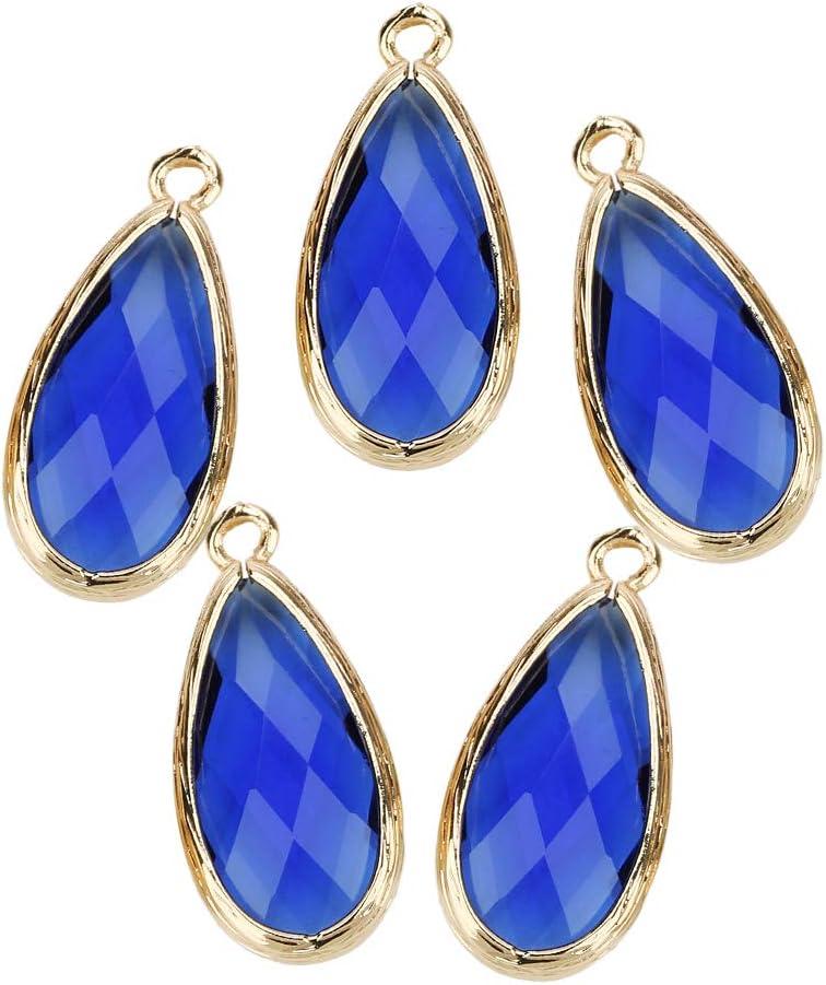 IPOTCH 5pc Forma de Glass Teardrop Charm Colgante para Decoración Accesorio de Joya de Fabricación de Abalorios y Bisutería - Azul Zafiro