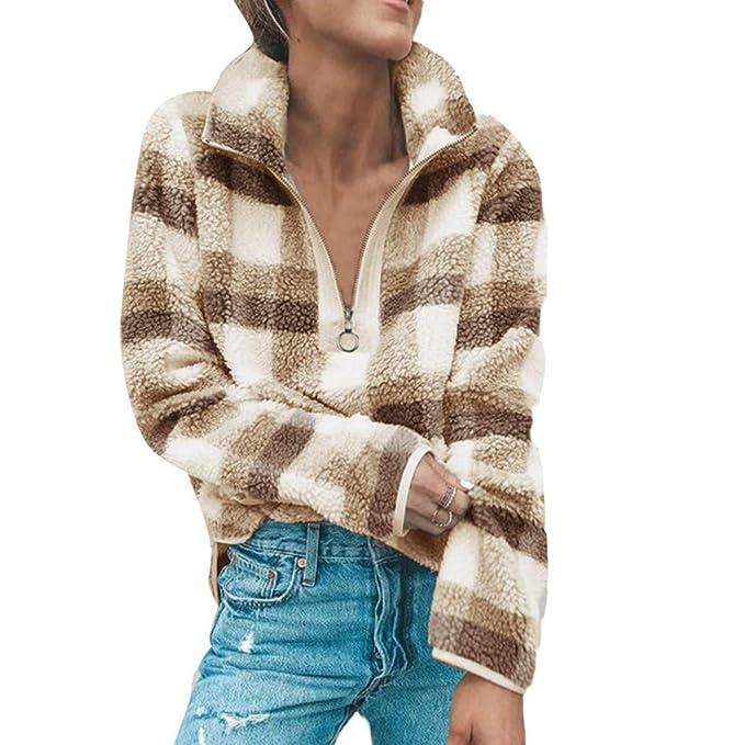 Rovinci☆ Abrigos para Mujer Celosía A Cuadros Casual Invierno Cálido Lana Cómoda Cremallera Otoño Faux Fur Coat Blusa Tops 2018: Amazon.es: Ropa y ...